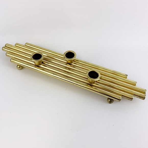 Vintage Brass Tube Table Top Candle Holder